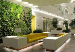 11 luxurious vertical indoor garden design ideas look awesome in large room with two long 11 odern sofa and modern ceiling light decoration and stone ceramic floor